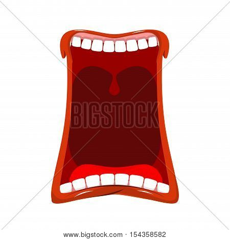 Open Mouth Isolated. Teeth And Tongue. Hunger. Yawns On White Background. Lips And Throat