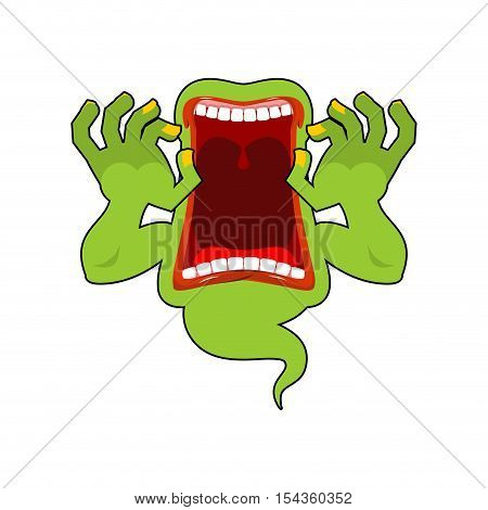 Spook Wild Howl. Scary Ghost Shouts. Horrible Wraith Frightening Screams. Green Monster With His Mou