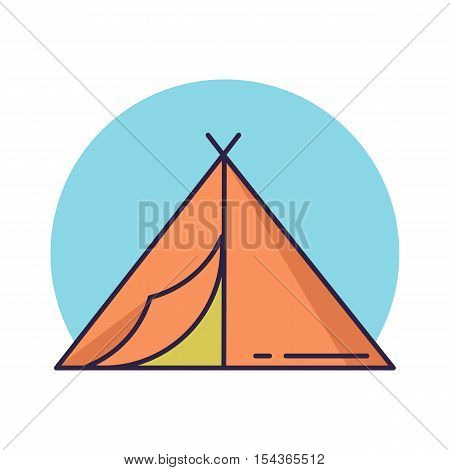 Camping tent line icon. Flat color vector illustration.