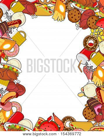 Food Gourmet Frame. Background Of Feed. Edible Cadre. Pizza And Tacos. French Fries And Hamburger. H