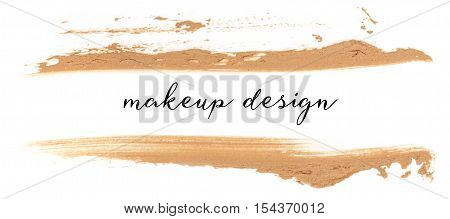 Splashes of makeup base on white background, with copyspace