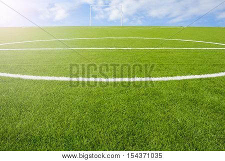 Artificial Turf Football Field Green On Sky Background