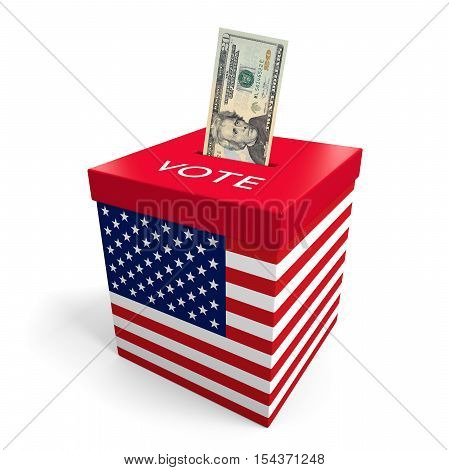 Corruption and big money lobbying in American election politics concept 3d