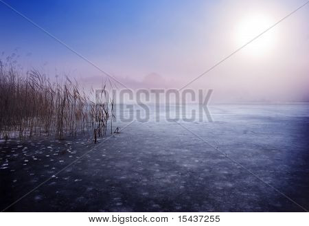 Frozen lake in winter