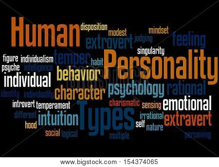 Human Personality Types, Word Cloud Concept 5