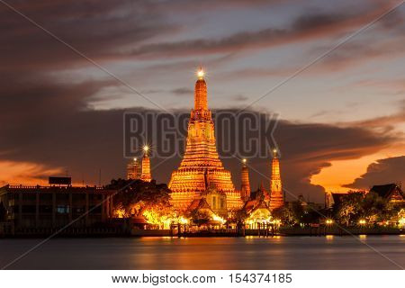 Wat Arun Buddhist religious places in twilight time Bangkok Thailand