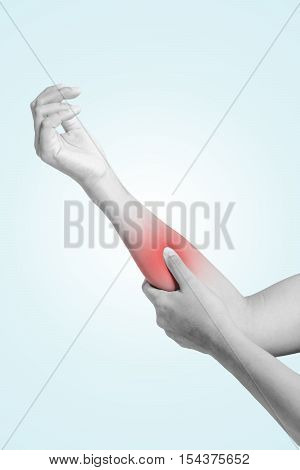 Hands of men or women arm injury arm pain