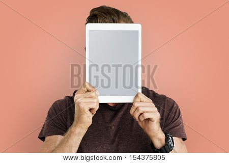 Person Holding Tablet Face Concept