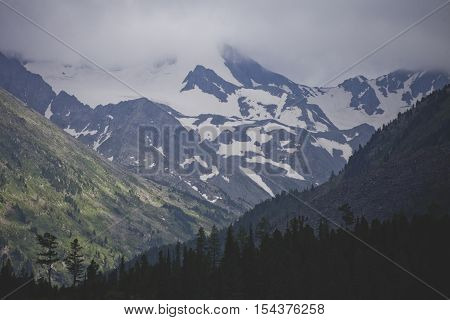 Snowed Peaks Of Altai Mountains