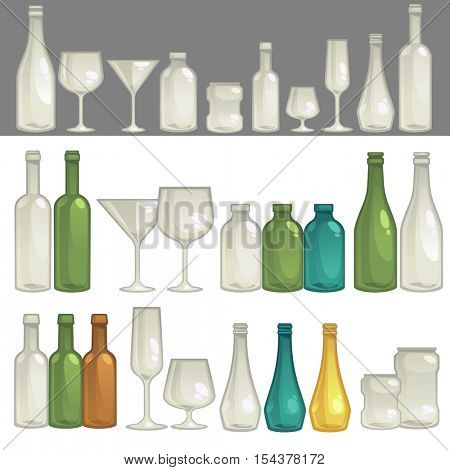 Different shape and sizes glasses and bottles for alcohol drink: wine and beer, liquor, brandy and champagne; for water and milk. Isolated vector illustration on white background.