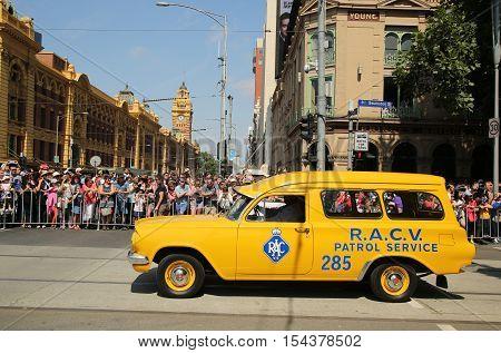 MELBOURNE, AUSTRALIA - JANUARY 25, 2016: RACV patrol services car during Australia Day Parade in Melbourne