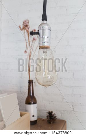 Retro light of hanging bulb stock photo