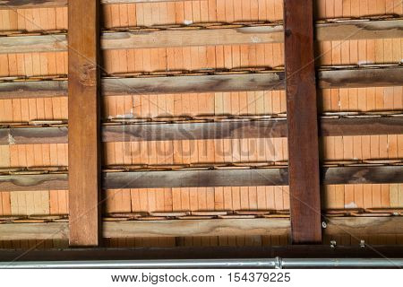 Interior construction of wooden roof stock photo