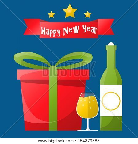 Happy New Year or Merry Christmas greeting card. Holiday illustration with gift box, bottle and glasses of champagne on blue background. Vector design for celebration
