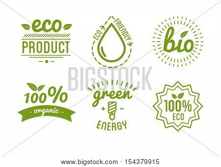 Set of organic food labels and design elements or eco product. Vector Illustration.