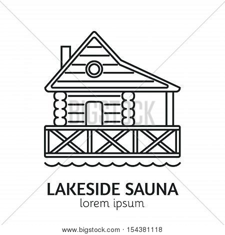 Unique Line Style Vector Logotype Template with Wooden Sauna House on the Lake. Clean and minimalist symbol perfect for your business. Sauna relaxation concept.