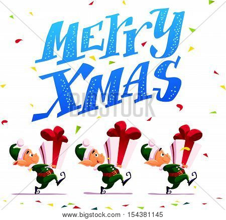 Vector flat merry christmas and happy new year illustration with santa claus funny elf with gift isolated on white background. Cartoon style. Good for Xmas decoration, card design.