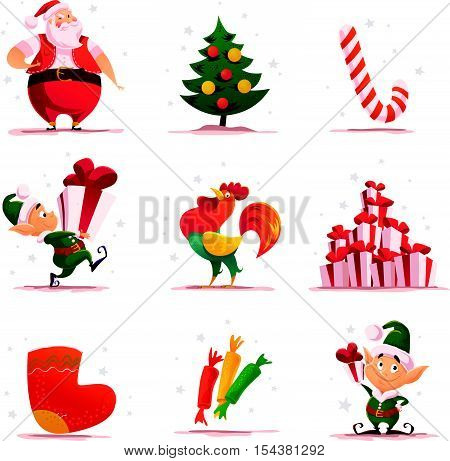 Vector flat christmas elf portrait set. Santa elf character. Cartoon style illustration. Happy New Year, Merry Xmas design element. Good for congratulation card, banner, flayer, leaflet, poster.