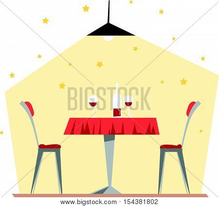 Vector flat restaurant illustration. Cartoon style. Cafe, restaurant, canteen interior design. Food industry.
