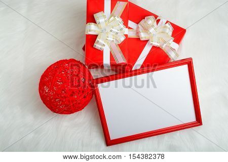 Red Frame, Gift Box And Balloon