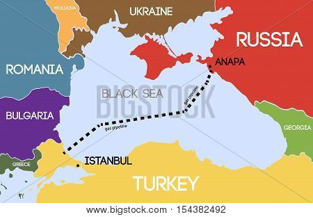 Vector illustration. Schematic map of the underwater pipeline in the Black Sea. Gas pipeline from Russia to Turkey.