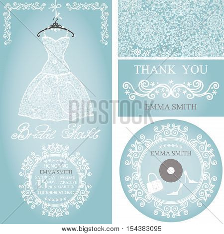Bridal shower dress, Winter invitation card set.Openwork wedding dress, decor elements.Snowflakes lace fabric.Christmas, New Year party.Fashion vector Illustration.Falling snowflakes background.