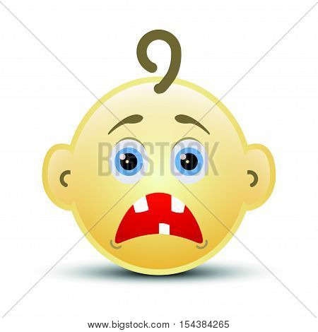 Baby shock smile icon on the white background, vector