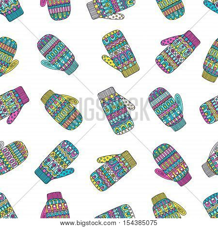Winter mittens. Vector seamless pattern with hand drawn doodle mittens. Bright colors - pink yellow blue white.