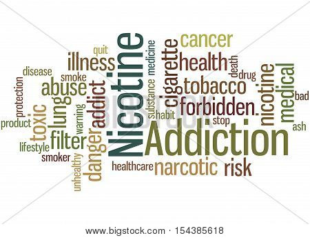 Nicotine Addiction, Word Cloud Concept
