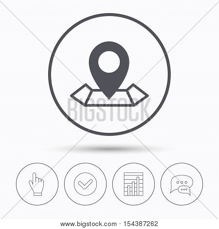 Location icon. Map pointer symbol. Chat speech bubbles. Check tick, report chart and hand click. Linear icons. Vector