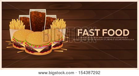 Lunch With French Fries, Burger And Soda Takeaway On Isolated Background. Wood Texture. Fast Food. V