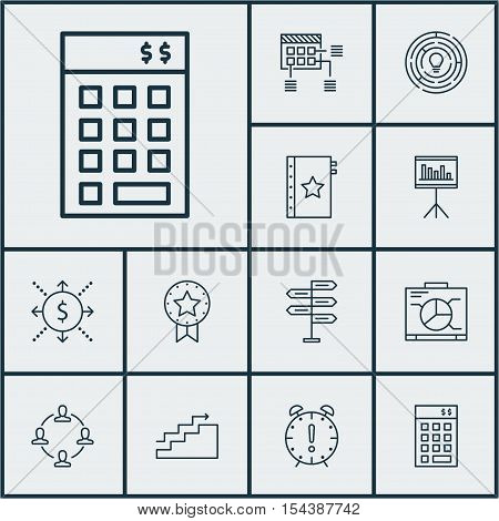 Set Of Project Management Icons On Innovation, Schedule And Board Topics. Editable Vector Illustrati