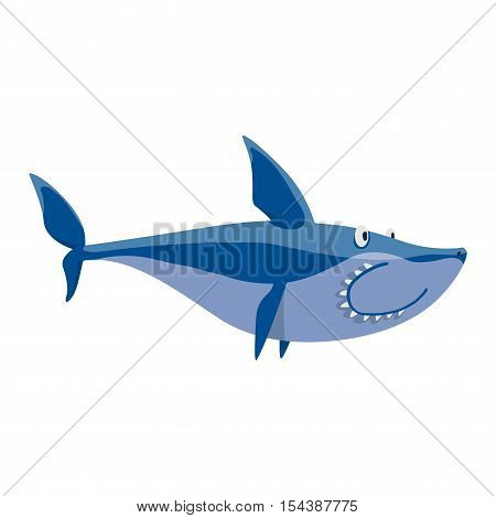 Vector illustration toothy white swimming angry shark.