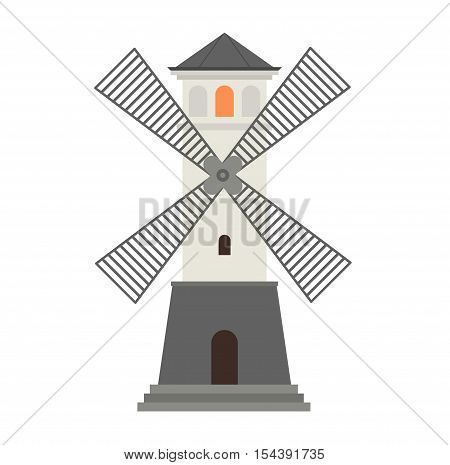 Vector cartoon flat mill lighthouses. Searchlight towers for maritime navigation guidance.