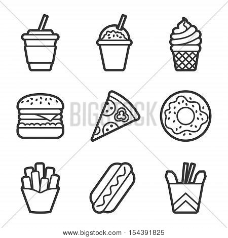 Fast food vector contour icon set. Fast food hamburger, cola, ice cream, pizza, donut, hot dog, noodles, french fries. Tasty fast food unhealthy meal. Isolated dishes on white background.