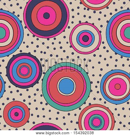 psychedelic circles seamless pattern doodle texture in bright colors pop culture styled background vivid backdrop 1960 fashion textile print vector eps 8 editable