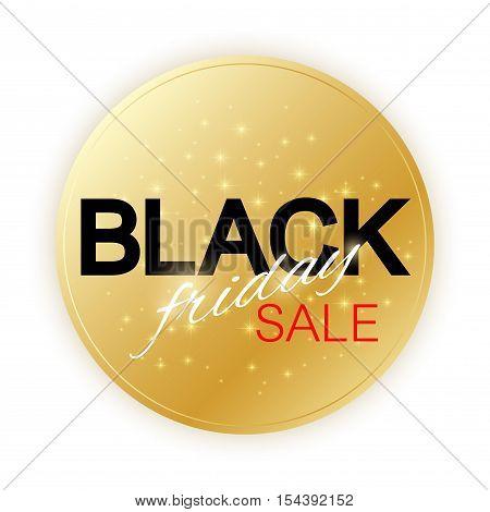 Black Friday Sale sign template. Promotional banner design. Golden label Black Friday Sale