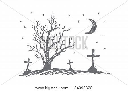Vector hand drawn Halloween concept sketch. Cemetery with graves, lonely autumn dry wood and moon in night sky