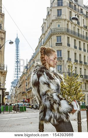 Pensive Trendy Fashion-monger With Christmas Tree In Paris