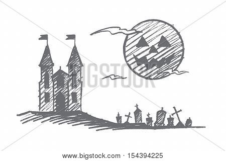 Vector hand drawn Halloween concept sketch. Halloween castle on hill, cemetery with graves and memorials and big full moon with scary face in sky