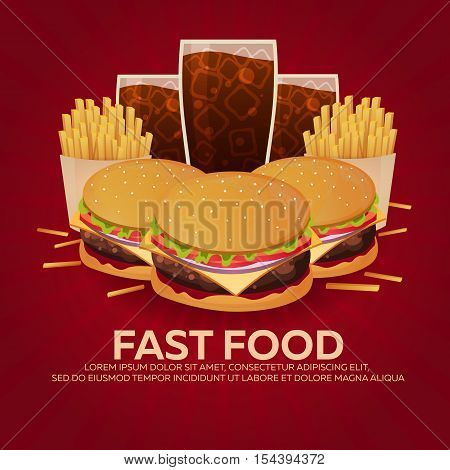 Lunch With French Fries, Burger And Soda Takeaway On Isolated Background. Fast Food. Vector Illustra