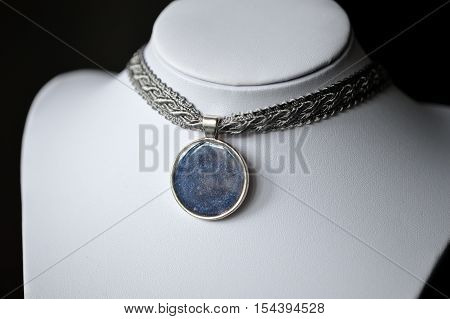 Choker Necklace From Ribbon And Handmade Pendant Of An Epoxy Resin