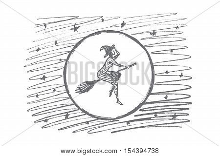 Vector hand drawn Halloween magic woman concept sketch. Halloween naked woman in cap flying on broom stick in sky in front of big full Moon