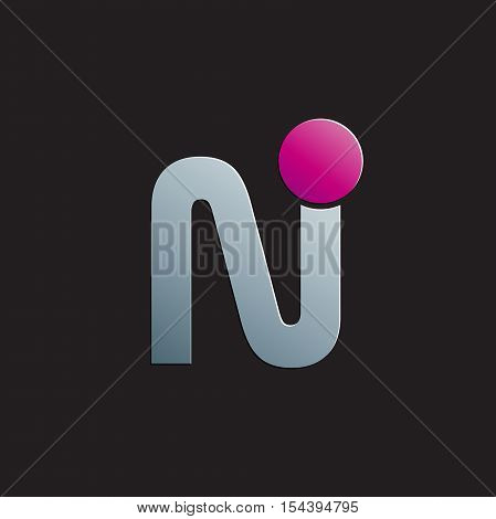 Vector sign letter N with circle, abstract shape
