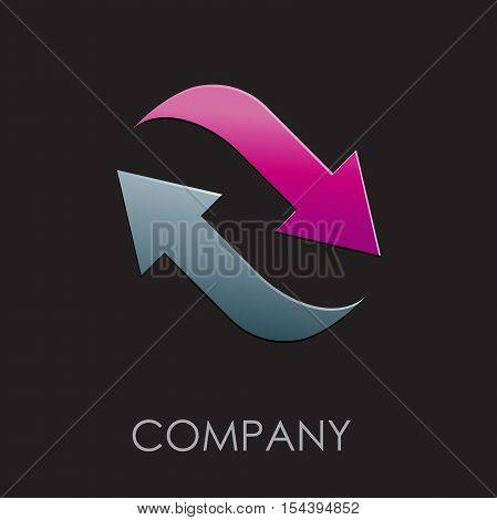 Vector logo arrows in movement together, abstract shape