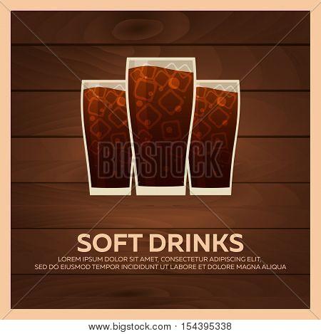 Soft Drinks Bunner. Fast Food Restauran Menu. Vector Illustration.