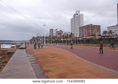Overcast Wet Afternoon On Beachfront  In Durban South Africa