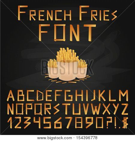 French Fries Font. Fast Food Font. English Alphabet. Type Letters, Numbers And Punctuation Marks.