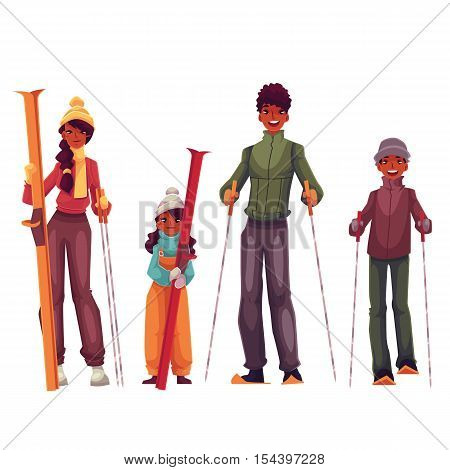 African family portrait of father, mother, daughter and son with ski, cartoon vector illustration isolated on white background. Cheerful black, african family in winter clothes with ski and ski poles