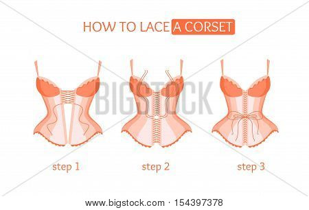 Corset Lacing. How To Lace. Step by Step Vector illustration